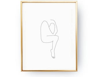 Abstract Woman Print, Continuous Line, Woman Figure, Simple Fashion, Woman Wall Art, Sketch Art, Black And White, Woman Body, Minimalist Art