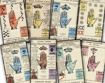 Palm Reading Tarot Cards Instant Download Fortune Teller Palmistry Clairvoyant Mystic Occult Fortune Teller Reader Decoupage Clipart 863