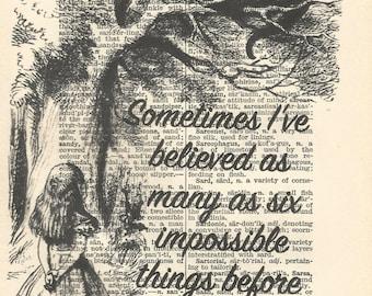 Alice in wonderland vintage print sometimes i've believed as many as six impossible things before breakfast