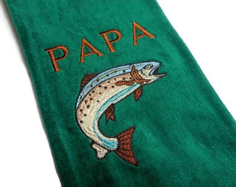 Fishing towel, personalize gift, fisherman towel, embroidered trout, gift for him, fishing gear, dad gift, papa grandpa, customize name