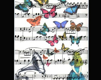 Alice in Wonderland  looking at a fantasy world of Butterflies swarming from a Vintage Gramophone Printed on a really old Music Sheet