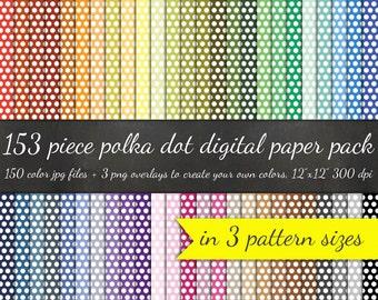 Digital Scrapbook 153 Piece Polka Dot Paper Pack - 3 PolkaDot Pattern Sizes 50 Colors Each +3 Overlays - Printable Scrapbook Paper