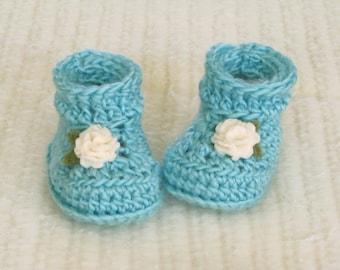 Crochet baby booties, baby girl booties, 0 to 3 months, teal baby booties, cream flowers