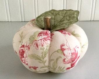 Pretty Pink Floral Decorative Cotton Pumpkin Decoration