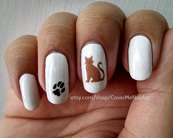 Cat Lover - Water Slide Nail Decals with cats and pawprints