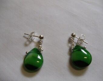 Green Drop Earrings on Silver Posts, Green Drop, Earrings, Silver Posts, dangle, drop
