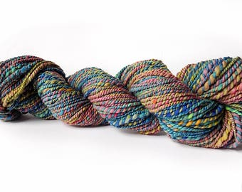 Handspun yarn / hand painted merino wool / aran to bulky weight yarn / multi color with sparkle