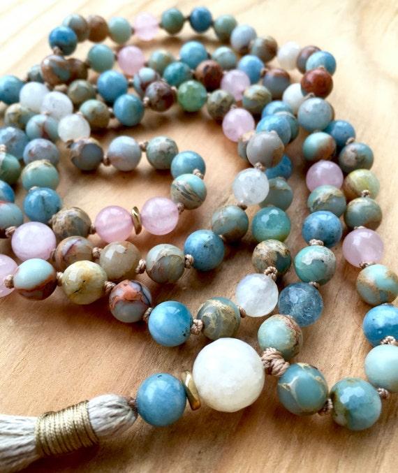 Mala Beads Necklace - Aquamarine Mala Beads - Moonstone Mala Necklace - 108 Mala Beads - Japa 108 - Mala Prayer Beads - Healing Mala Beads