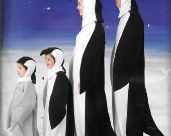 Simplicity 0524/ 3639/ 0696 Penguin Family Costume Sewing Pattern Adult and Children Size XS, S, M, L and XL