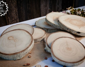"9"" Large Aspen Tree Slice - 9 inch - 1.75 inch thick - Rustic Wedding Decor ~ Summer Wedding ~ Garden Wedding ~ Rustic Wood Slice ~"