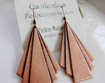 Triangle Fan Earrings, Geometric Earrings, Triangle Fan Pendant, Modern Earrings, Long, Art deco Style, Redpeonycreations