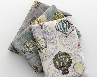 Unique Linen Collection-Vintage Traveling, Circus Hot Air Balloons, Collection B (Fat Quarter, Choose Color)