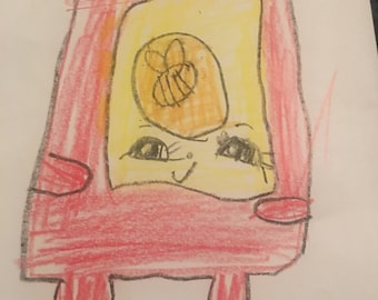 Shopkins Drawing (crayon on paper) by Lilith (7 years old)