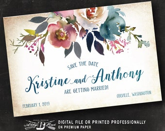 Rustic Save the Date Postcard | Printed or Printable Digital File DIY | Country Flowers Dusty Pink & Blue Watercolor Floral Save the Date