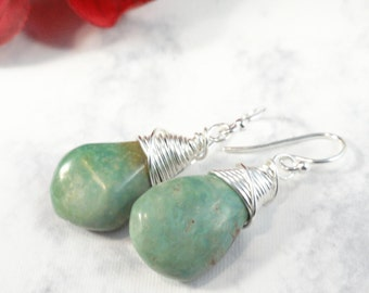 African Turquoise Wire Wrapped Teardrops, Silver Earrings