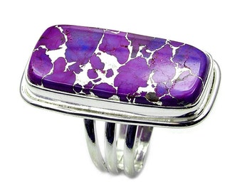Large Purple Mohave Turquoise Ring .925 Sterling Silver Ring Size 5.25 , AB17 The Silver Plaza