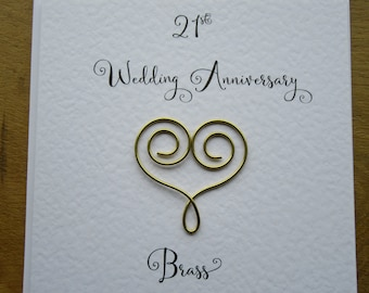 21st anniversary card -brass- 21 wedding anniversary card traditional handmade gift