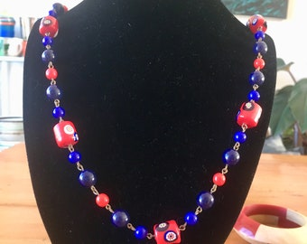Antique Czech or Venetian glass mille-fiore beads