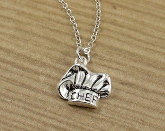 Chef Hat Necklace, Silver Plated Chef Hat Charm on a Silver Cable Chain