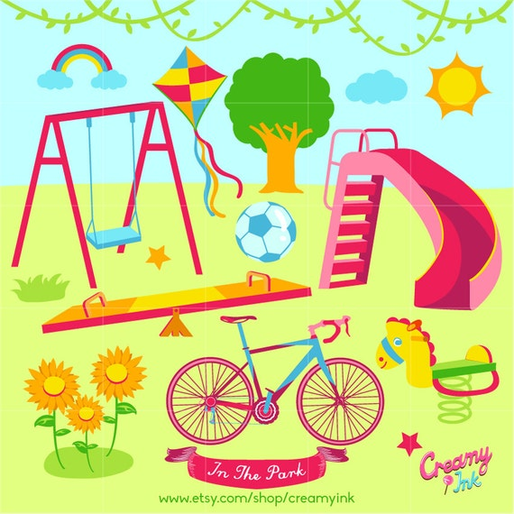 playground digital vector clip art play time clipart design rh etsy com Free Recess Clip Art playground clipart free