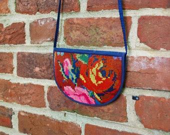 Vintage cross-stitch crossbody purse/cross stitch/Denim/Travel purse/Small crossbody bag/1970s