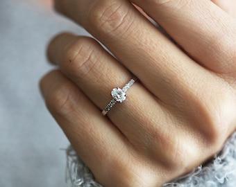 Diamond Ring Diamond Engagement Ring Oval Diamond Ring Rose