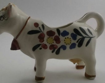 Vintage Creamer, China Cow Shaped Creamer, White China with Blue, Maroon, Yellow and Green Flowers