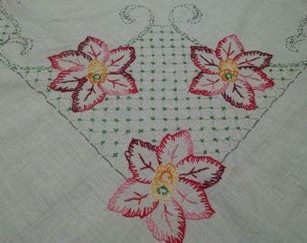 Vintage Tablecloth / Retro Kitchen Linens / Hand Embroidered / Tablecloth / 44 x 42 Tablecloth / Floral Design / Retro Table Linens