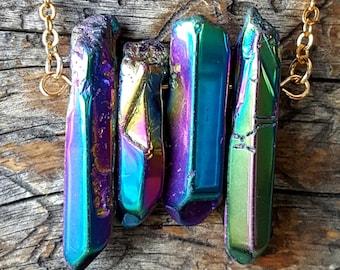 Rainbow Titanium Aura Crystal Quartz Point Necklace -  stone jewelry - 373