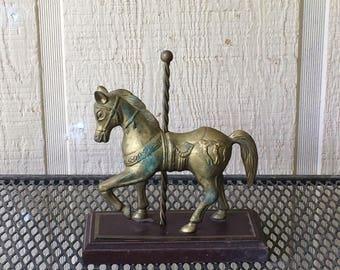 Brass carousel horse