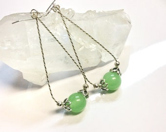 Chrysoprase Sterling Silver Hoop Earrings, Sterling Tear Drop Hoop Earrings, AAA Chrysoprase Earrings, Chrysoprase Sterling Earrings.