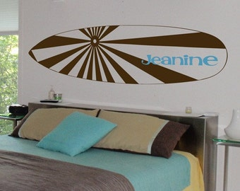 Surfboard and Name - Personalized Monogram Wall Decals - Your Choice of Colors