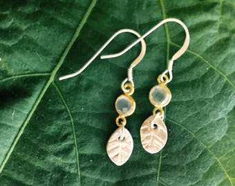 hand formed sterling silver leaf earrings with quartz and gold filled components on sterling wires