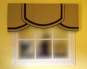 Custom Olive Khaki and Navy Crescent valance