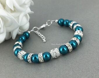 Teal Pearl Bracelet Teal Bracelet Teal Earrings Bridal Jewelry Bridal Bracelet Teal Wedding Bridal Party Jewelry
