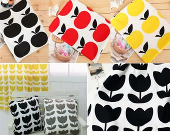 apple fabric/tulip fabric/Scandinavian fabric/black white red diy fabric/cross fabric/cute apple tulip fabric/modern fabric/bedding cushion