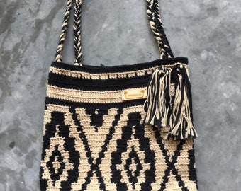 Handmade Crochet  Mochilla inspired bag. Soft cotton.