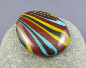 Glass cabochon, striped cabochon, brown cabochon, blue, yellow, lampworked cabochon, slumped cabochon, art glass cabochon, mosaic supplies