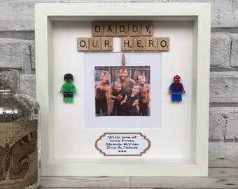 Dad/Daddy Our Hero Lego Scrabble Frame, Father's Day Scrabble Frame, Birthday Scrabble Frame. Frame For Dad/Daddy