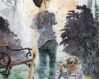 Whimsical Art - Zombie - Zombie Apocalypse - Zombie Art - A Boy and his Dog - Cute Zombie - Zombie Love - Zombie Wedding - Zombie Dog - Cute