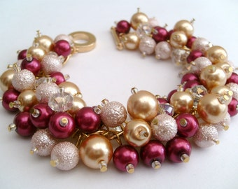Wine Red and Gold Pearl Beaded Bracelet, Cluster Bracelet, Bridesmaid Bracelet, Vintage Style, Wedding Jewelry