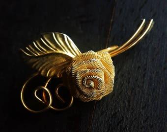 Vintage brooch, pin, golden rose