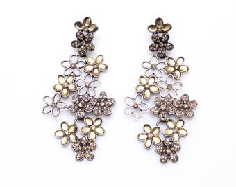 Golden Flower Earrings Large Floral Statement Earrings Champagne Cluster Flower Earrings