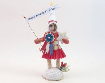 READY TO SHIP Vintage Inspired Spun Cotton Independence Day Prize Winner Figure Ooak