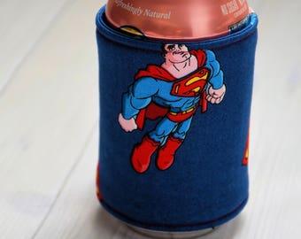 Super Man Inspired/Bottle Cozy/Geeks/ Nerds/ Gift for Her/ Gift for Him/ Gift for Kids/ Birthday Gift/ Christmas Gift/ Beer Cozy/ DC