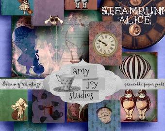 Steampunk  Alice  Digital Journal Kits  Printable Journal  Alice in Wonderland  Clip Art  Clipart   DIY journal  Junk Journal