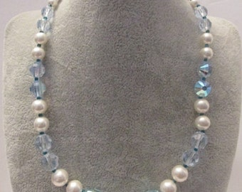 Stunning Vendome Vintage Signed Faux Pearl and Blue AB Crystal Necklace