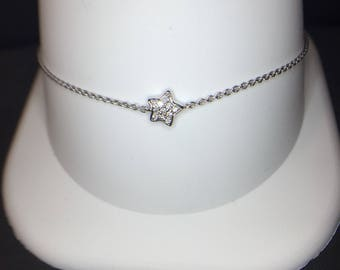 14K White Gold Diamond (.05ct) Star Bracelet, Star Bracelet, Diamond Bracelet