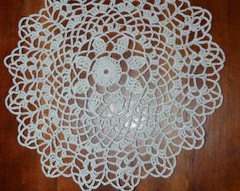 Handmade 20 cm, white, round, made with fine cotton crochet doily