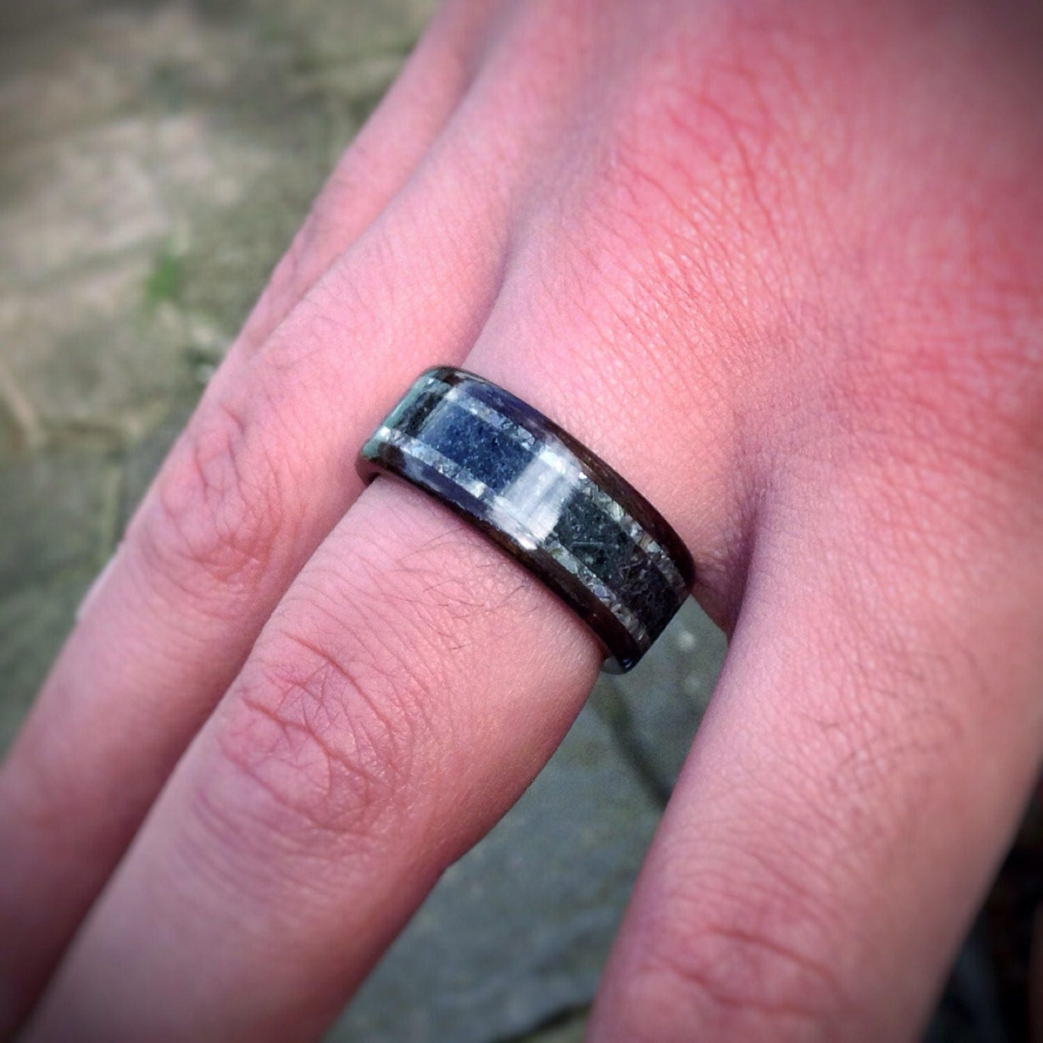 The Kraken - Megalodon Tooth, Abalone & Ebony Bent Wood Ring - Made ...